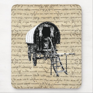 Vintage romany gypsy wagon mouse pad