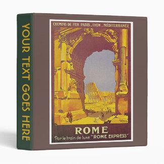 Vintage Rome by Train Travel Ad Album 3 Ring Binder