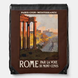 Vintage Rome Italy backbag Drawstring Backpack