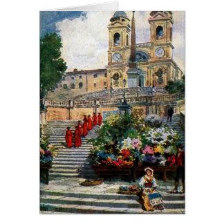 Vintage Rome watercolor Trinita dei Monti Card