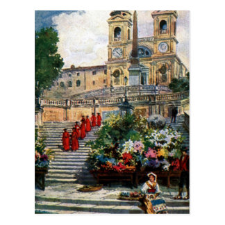 Vintage Rome watercolor Trinita dei Monti Postcard