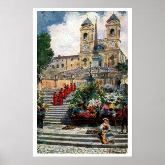 Vintage Rome watercolor Trinita dei Monti Poster
