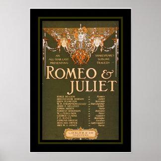 Vintage Romeo Juliet del teatro de los posters