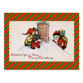 Vintage Rooftop Santa and Children Post Card