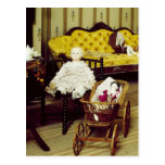 Vintage room with dolls and wicker pram postcard