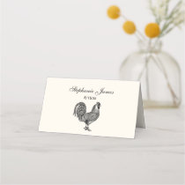 Vintage Rooster #1 Place Card Escort Card Ivory