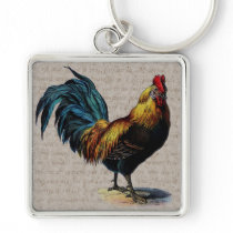 Vintage Rooster and Antique Text Collage - Custom Keychain