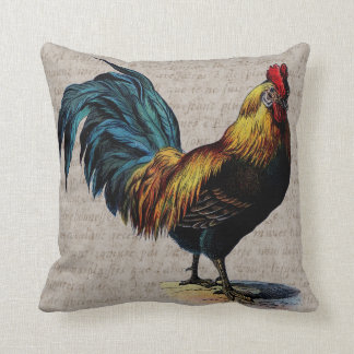Vintage Rooster and Antique Text Collage - Custom Throw Pillow