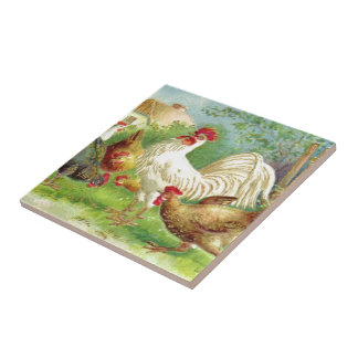 Vintage Rooster and Chickens Ceramic Tile