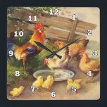 "Vintage rooster and chickens Country wall decor Square Wall Clock<br><div class=""desc"">design by www.etsy.com/Shop/Heartland</div>"