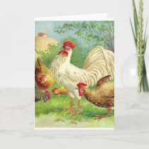 Vintage Rooster and Chickens Holiday Card