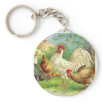 Vintage Rooster and Chickens Keychain