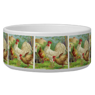 Vintage Rooster and Chickens Pet Food Bowls