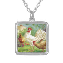 Vintage Rooster and Chickens Silver Plated Necklace
