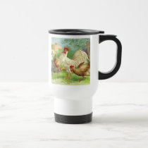Vintage Rooster and Chickens Travel Mug