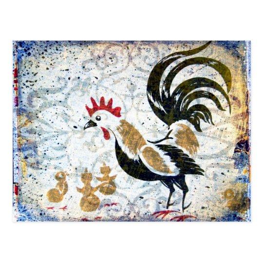 Vintage Rooster and Chicks Postcard