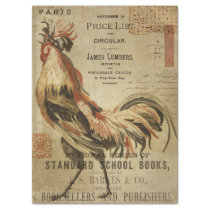 Vintage Rooster and Ephemera Decoupage Tissue Paper