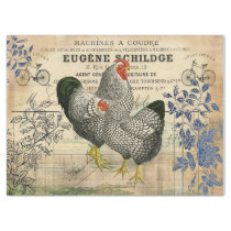 Vintage Rooster and Hen Ephemera Decoupage Tissue Paper