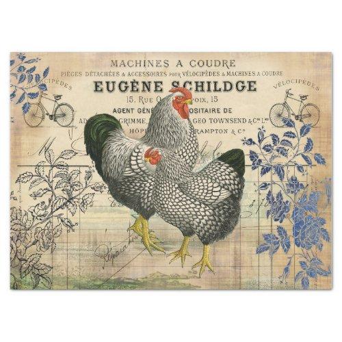Vintage Rooster and Hen Ephemera Decoupage Tissue Paper