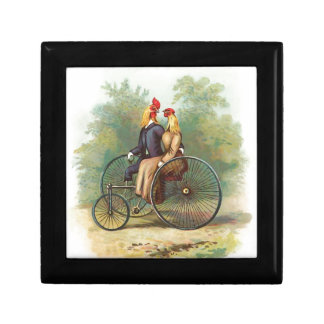 Vintage Rooster and Hen on a Bike Keepsake Box