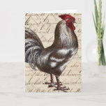 Pretty Vintage Rooster Birthday Card