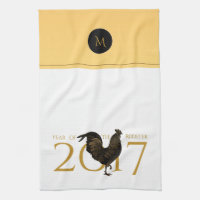 Vintage Rooster Chinese New Year 2017 Monogram KT Towel