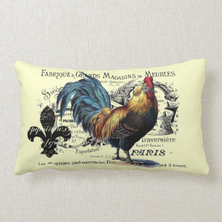 Vintage Rooster Collage Lumbar Pillow