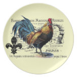 Vintage Rooster Collage Plates