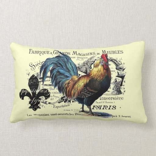 Vintage Rooster Collage Throw Pillows