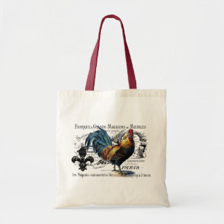 Vintage Rooster Collage Tote Bag