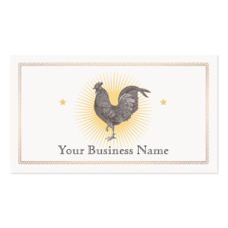 Vintage Rooster Etching Business Card