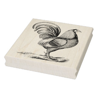 Vintage Rooster Facing Right Rubber Art Stamp