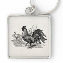 Vintage Rooster Fowl Bird Personalized Template Keychain