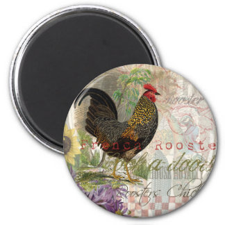 Vintage Rooster French Collage 2 Inch Round Magnet