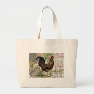 Vintage Rooster French Collage Artwork Print Large Tote Bag