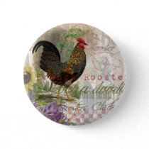 Vintage Rooster French Collage Artwork Print Pinback Button