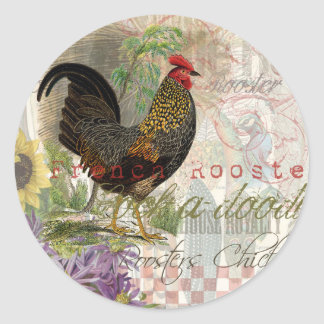 Vintage Rooster French Collage Classic Round Sticker