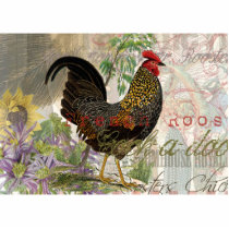 Vintage Rooster French Collage Cutout