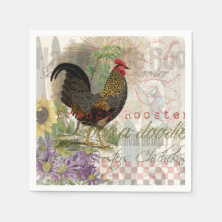 Vintage Rooster French Collage Paper Napkin