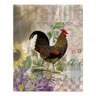 Vintage Rooster French Collage Poster