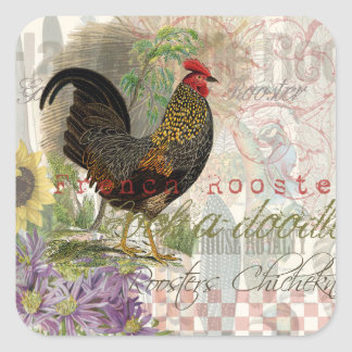Vintage Rooster French Collage Square Sticker