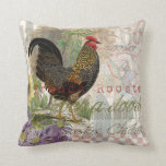 Vintage Rooster French Collage Throw Pillow