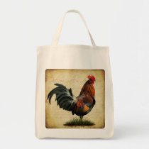 Vintage Rooster Grocery Bag