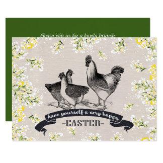Vintage Rooster & Hens Easter Brunch Invitations