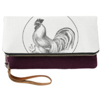 Vintage rooster illustration clutch