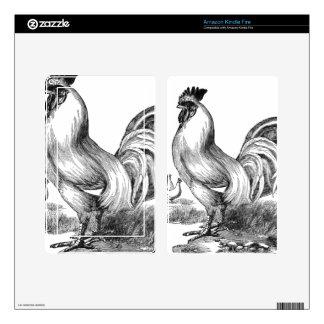 Vintage rooster illustration skin for kindle fire