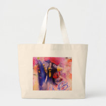 Vintage Rooster in the Garden Large Tote Bag