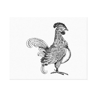Vintage rooster jagged drawing.png canvas print