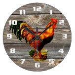 Vintage Rooster Kitchen Large Clock