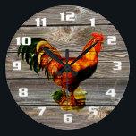 """Vintage Rooster Kitchen Large Clock<br><div class=""""desc"""">Vintage Rooster on Old Wooden Boards Kitchen clock.</div>"""